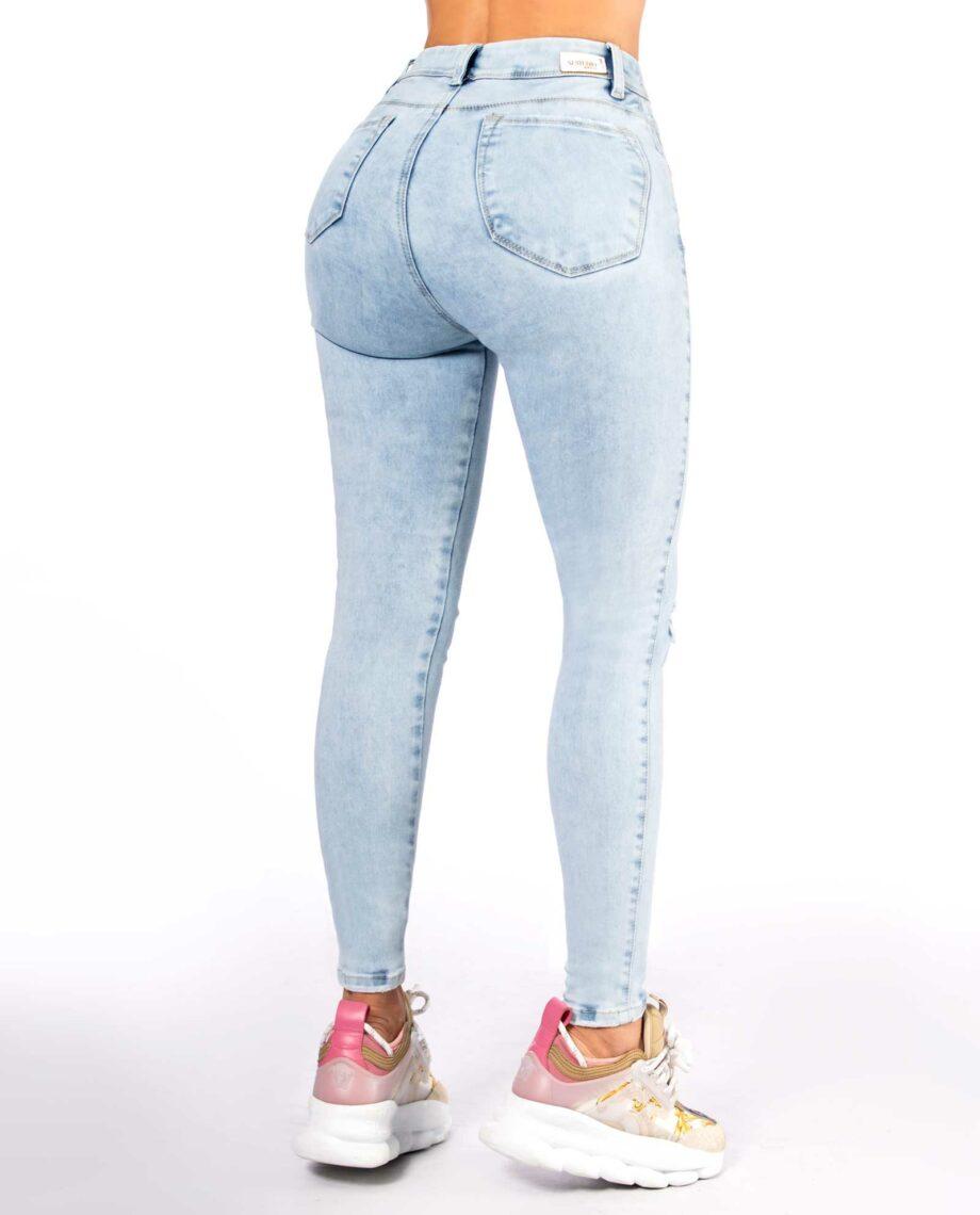 Jean skinny tono claro con rotos