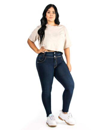 Jean skinny plus size oscuro doble boton delantero