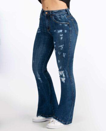 Jean skinny flare con destroyed