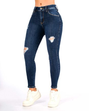 Jean skinny tono oscuro con rotos